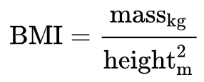 BMI = mass(kg) / height(m)^2