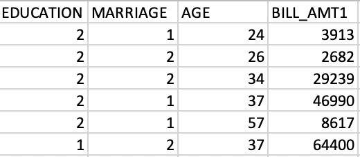 This image shows four feature columns from a dataset on credit card default: education, marriage, age, and bill amount.