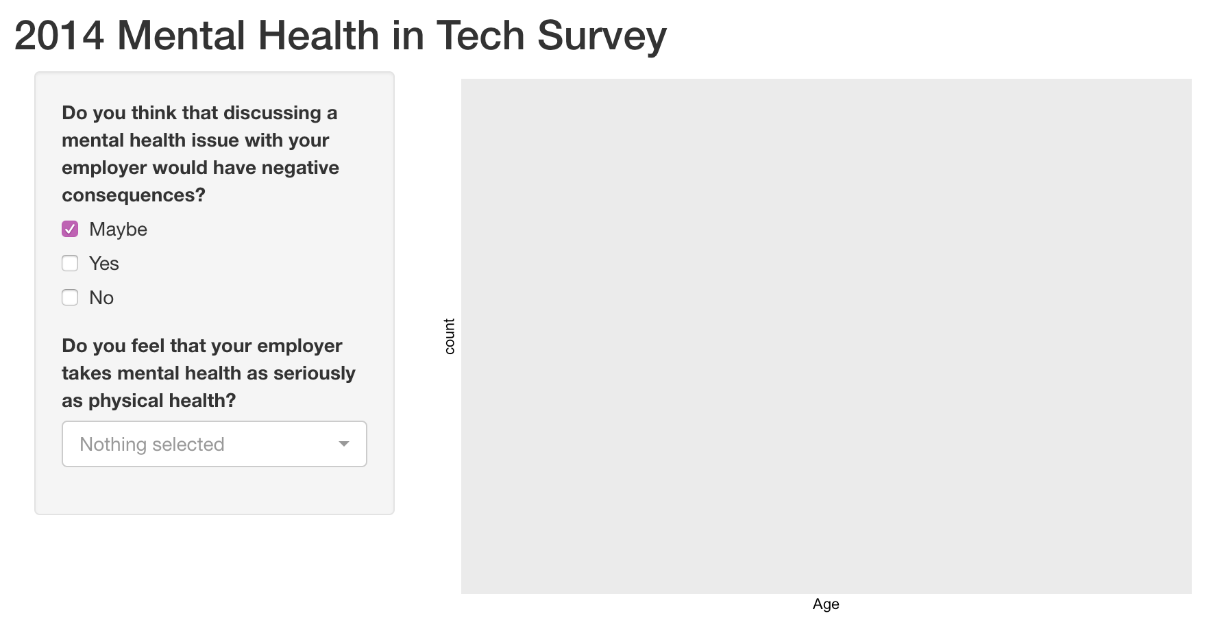 An app displaying questions from a Mental Health survey