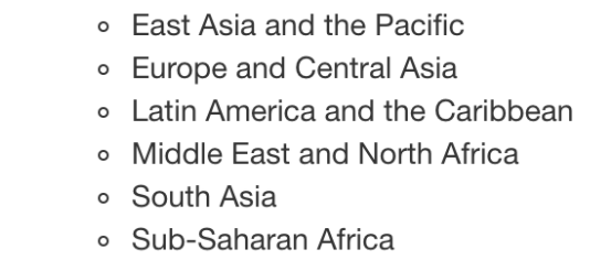 East Asia and the Pacific, Europe and Central Asia, Latin America and the Caribbean, Middle East and North Africa, South Asia, and Sub-Saharan Africa
